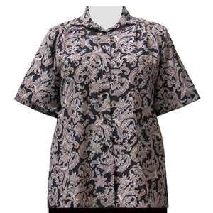 Taupe Paisley Design Short Sleeve Tunic Women's Plus Size Blouse