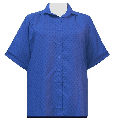 Blue Floating Leaves Short Sleeve Tunic Women's Plus Size Blouse