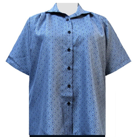 Greyson Blue Short Sleeve Tunic Women's Plus Size Blouse