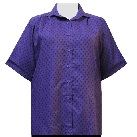Purple Floating Leaves Short Sleeve Tunic Women's Plus Size Blouse