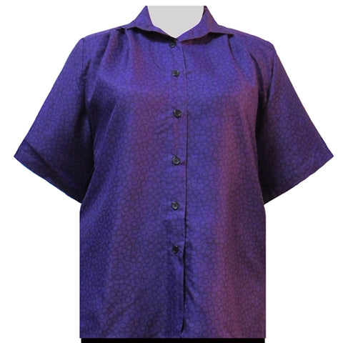 Purple Flo Short Sleeve Tunic Women's Plus Size Blouse