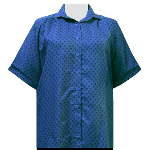 Teal Floating Leaves Short Sleeve Tunic Women's Plus Size Blouse