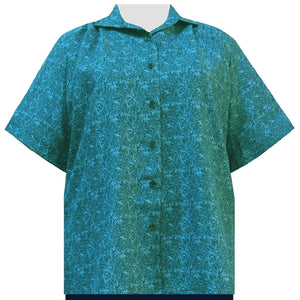 Teal Morrison Short Sleeve Tunic Women's Plus Size Blouse