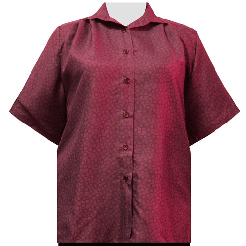 Wine Flo Short Sleeve Tunic Women's Plus Size Blouse