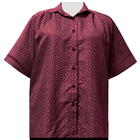 Wine Wreath Short Sleeve Tunic Women's Plus Size Blouse