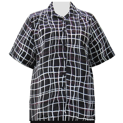 Black Windowpane Short Sleeve Tunic Women's Plus Size Blouse
