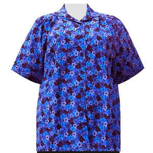 Blue Flori Short Sleeve Tunic Women's Plus Size Blouse