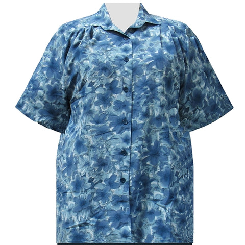 Blue Maura Short Sleeve Tunic Women's Plus Size Blouse