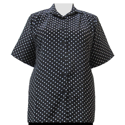 Black & White Aspirin Dots Short Sleeve Tunic Women's Plus Size Blouse