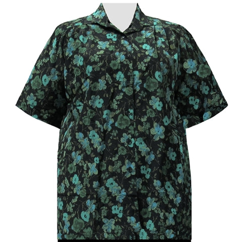 Green Happy Days Short Sleeve Tunic Women's Plus Size Blouse