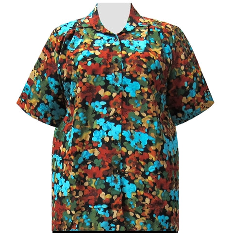 Multi Marigolds Short Sleeve Tunic Women's Plus Size Blouse