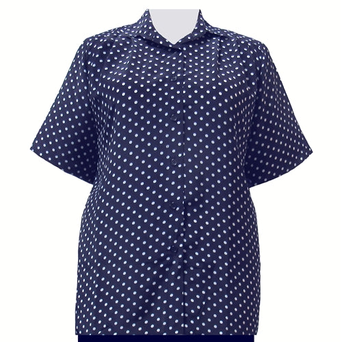 Navy Aspirin Dots Short Sleeve Tunic Women's Plus Size Blouse