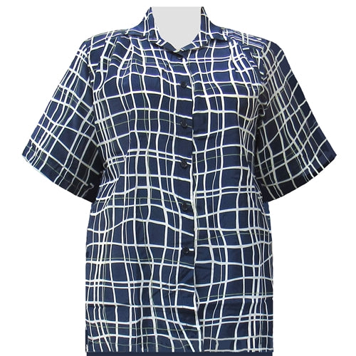 Navy Windowpane Short Sleeve Tunic Women's Plus Size Blouse