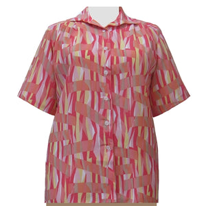 Coral Pageant Short Sleeve Tunic Women's Plus Size Blouse