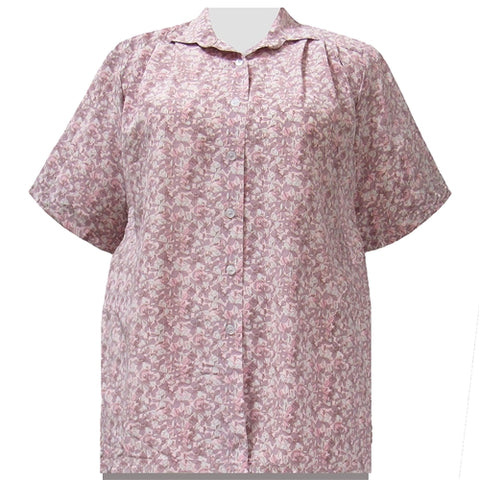 Pink Stella Short Sleeve Tunic Women's Plus Size Blouse