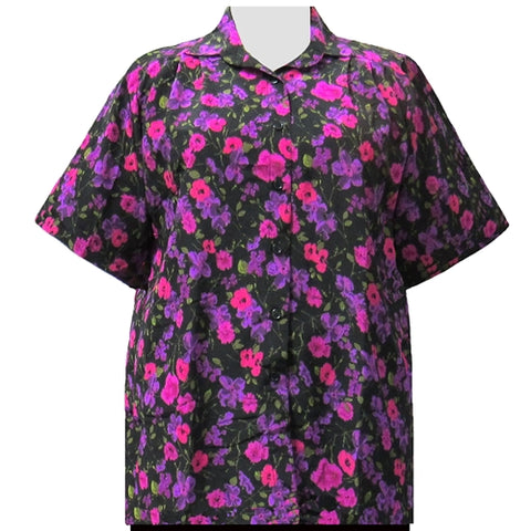 Purple Happy Days Short Sleeve Tunic Women's Plus Size Blouse