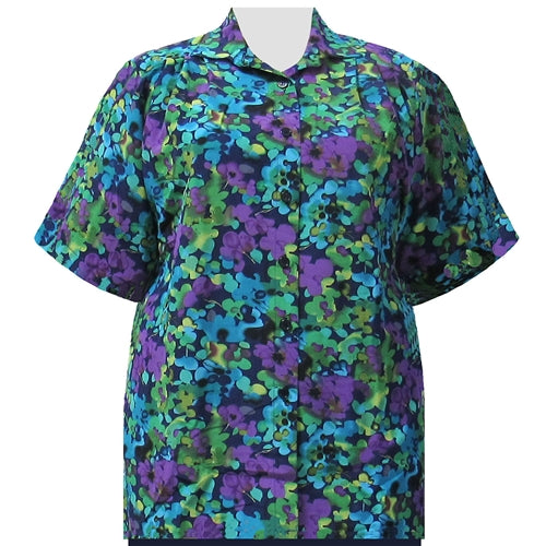 Purple Marigolds Short Sleeve Tunic Women's Plus Size Blouse