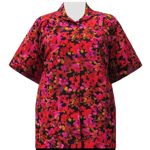 Red Marigolds Short Sleeve Tunic Women's Plus Size Blouse