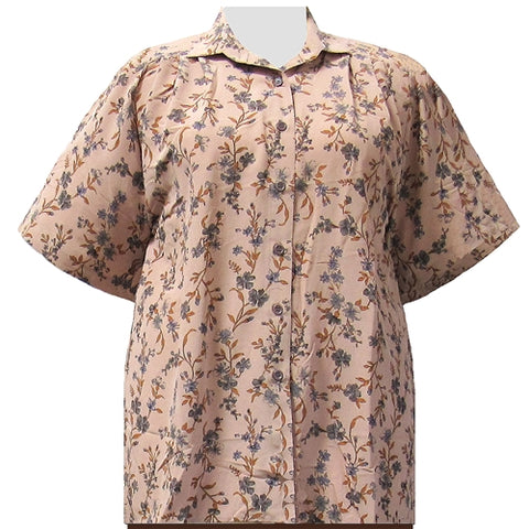 Tan Serena Short Sleeve Tunic Women's Plus Size Blouse