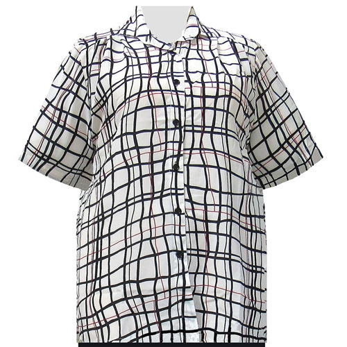 White Windowpane Short Sleeve Tunic Women's Plus Size Blouse
