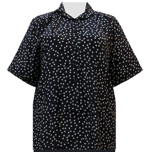 Black & Grey Aspirin Dots Short Sleeve Tunic Women's Plus Size Blouse