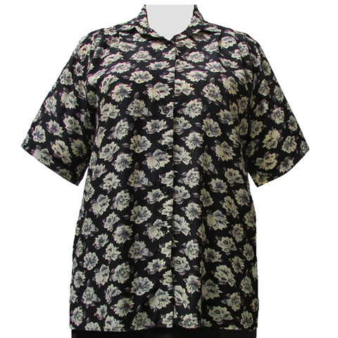 Black Floral Short Sleeve Tunic Women's Plus Size Blouse