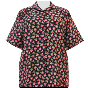 Black River Rose Short Sleeve Tunic Women's Plus Size Blouse