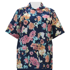 Blue Painted Floral Short Sleeve Tunic Women's Plus Size Blouse
