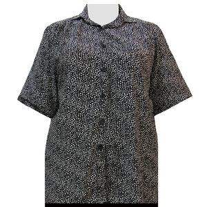 Black & Tan Mini Abstract Short Sleeve Tunic Women's Plus Size Blouse