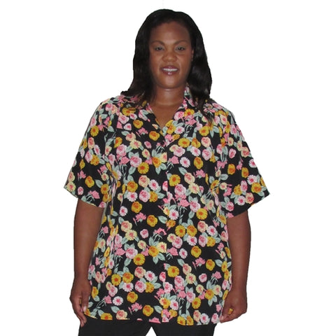 Chrysanthemum Bouquet Short Sleeve Tunic Women's Plus Size Blouse