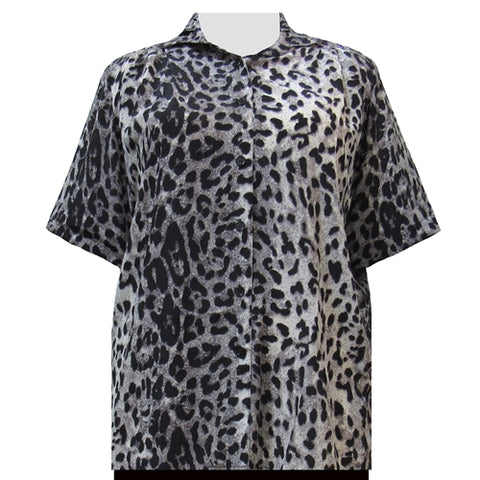 Grey Snow Leopard Short Sleeve Tunic Women's Plus Size Blouse