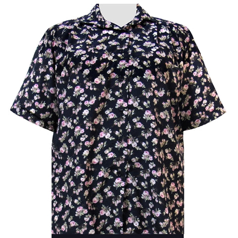 Navy Pink Rose Short Sleeve Tunic Women's Plus Size Blouse