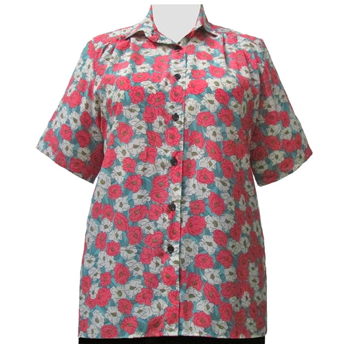 Retro Garden Short Sleeve Tunic Women's Plus Size Blouse