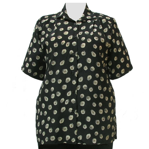 Starburst Floral Short Sleeve Tunic Women's Plus Size Blouse