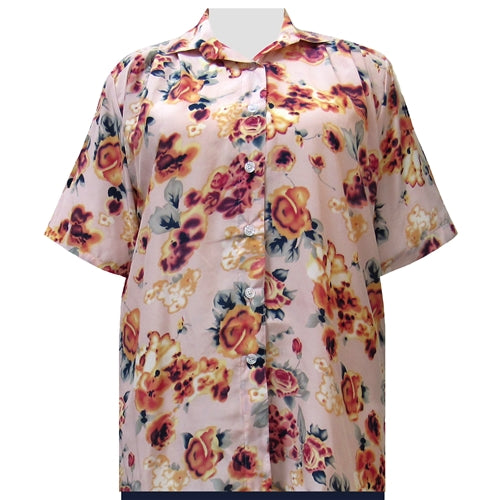Shell Pink Painted Floral Short Sleeve Tunic Women's Plus Size Blouse