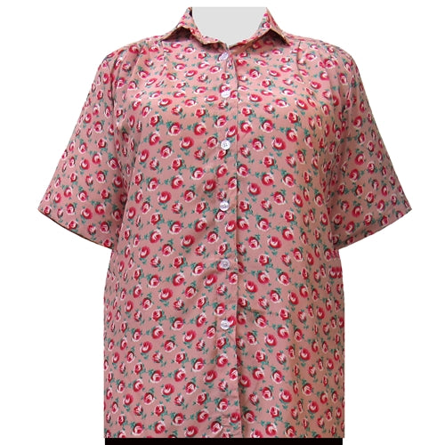Shell Pink River Rose Short Sleeve Tunic Women's Plus Size Blouse