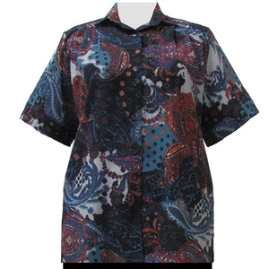 Blue Abstract Paisley Short Sleeve Tunic Women's Plus Size Blouse