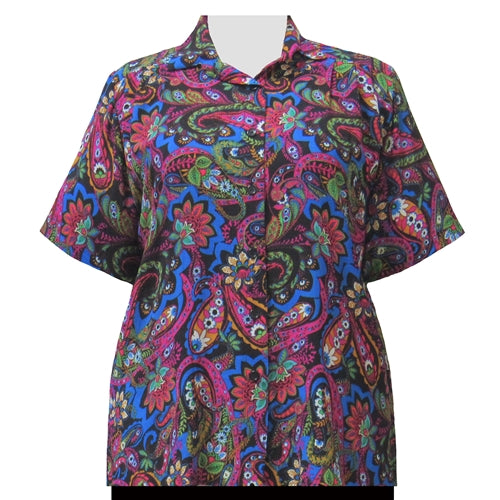 Fuchsia Indian Dream Short Sleeve Tunic Women's Plus Size Blouse