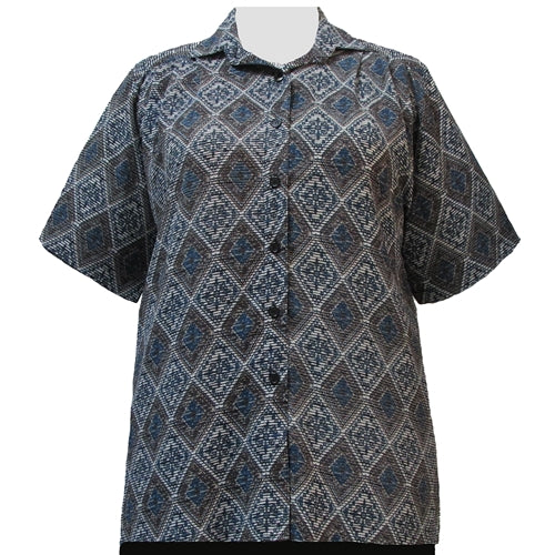 Green Kilim Short Sleeve Tunic Women's Plus Size Blouse