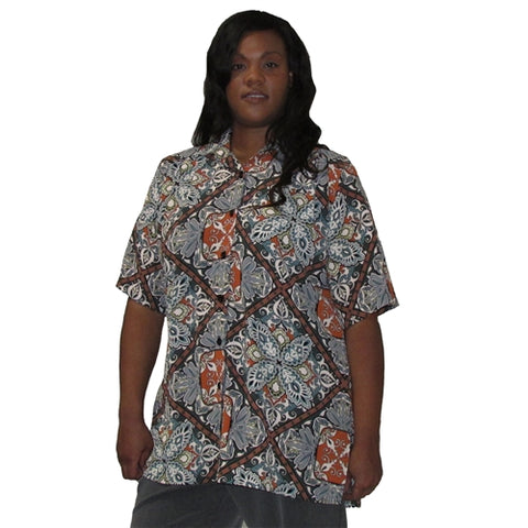 Green Tapestry Short Sleeve Tunic Women's Plus Size Blouse