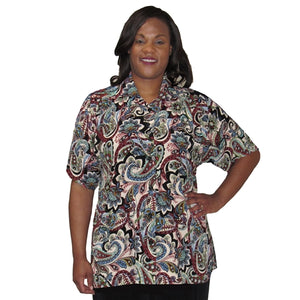 Neutral Indian Dream Short Sleeve Tunic Women's Plus Size Blouse