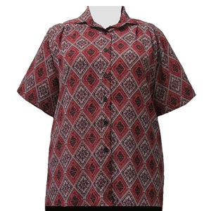 Rust Kilim Short Sleeve Tunic Women's Plus Size Blouse