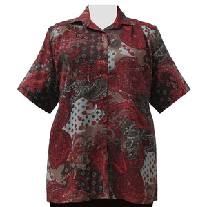Wine Abstract Paisley Short Sleeve Tunic Women's Plus Size Blouse