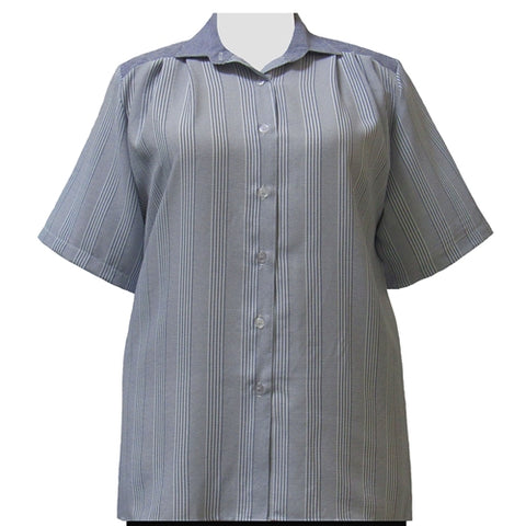 Blue Stripe Short Sleeve Tunic Women's Plus Size Blouse