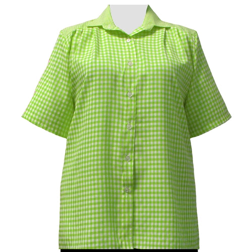 Lime Gingham Short Sleeve Tunic Women's Plus Size Blouse