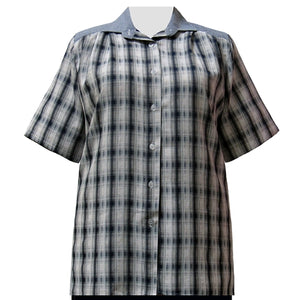 Navy Plaid Short Sleeve Tunic Women's Plus Size Blouse