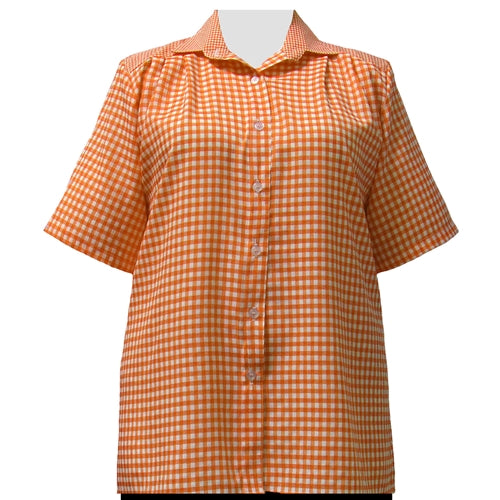 Orange Gingham Short Sleeve Tunic Women's Plus Size Blouse