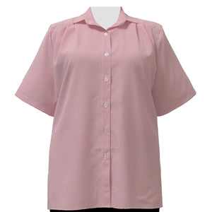 Pink Microcheck Short Sleeve Tunic Women's Plus Size Blouse