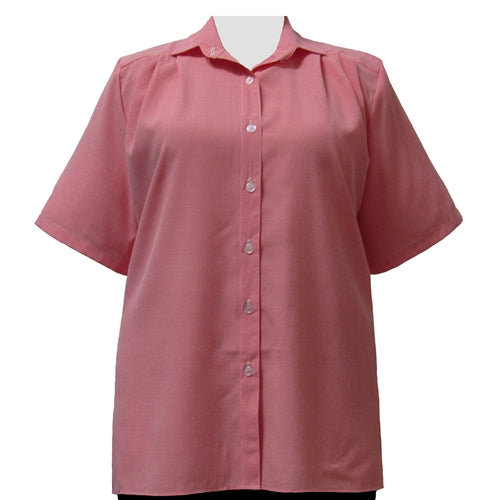 Red Microcheck Short Sleeve Tunic Women's Plus Size Blouse