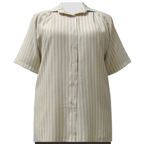 Tan Stripe Short Sleeve Tunic Women's Plus Size Blouse